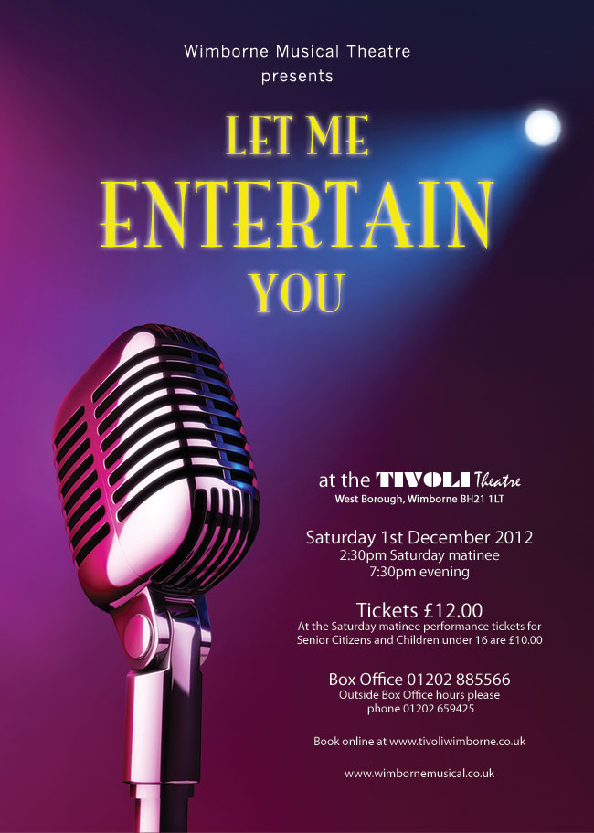 Let me entertain you our winter show wimborne musical for Lit you me